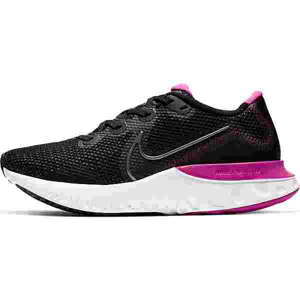 Nike Renew Run Laufschuhe Damen black-mtlc dark grey-white-fire pink