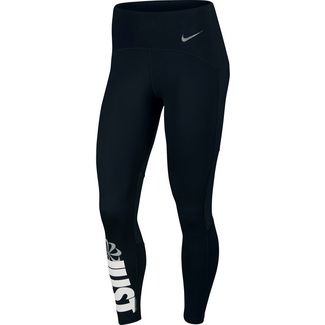 Nike Icon Clash Laufhose Damen black-white-reflective silver