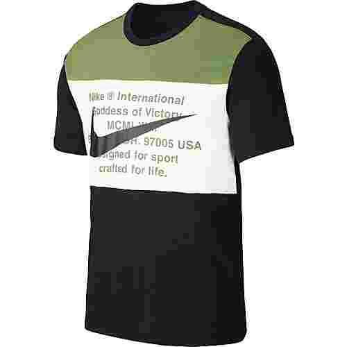 Nike NSW Swoosh T-Shirt Herren black-treeline-white