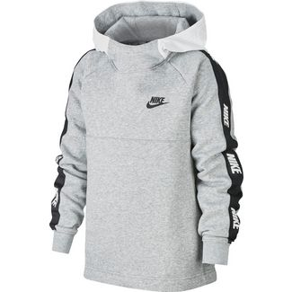 Nike Hoodie Kinder white-black-dk grey heather-black