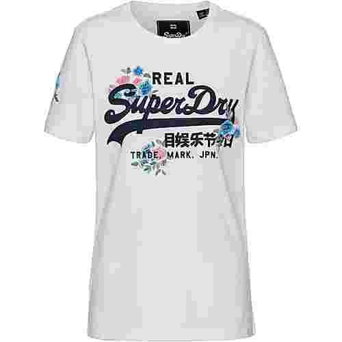 Superdry V LOGO PUFF FLORAL T-Shirt Damen optic