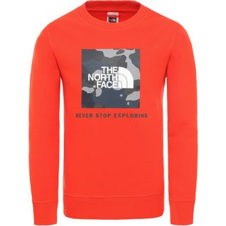 The North Face Youth Box Crew Langarmshirt Kinder fiery red-blue wing teal ponderosa print