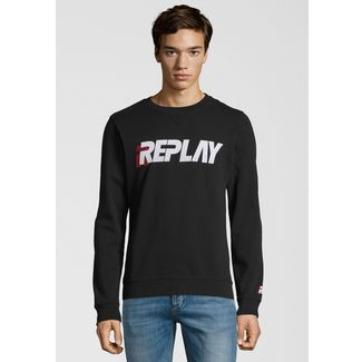 REPLAY mit appliziertem Logo-Schriftzug Sweatshirt Herren black