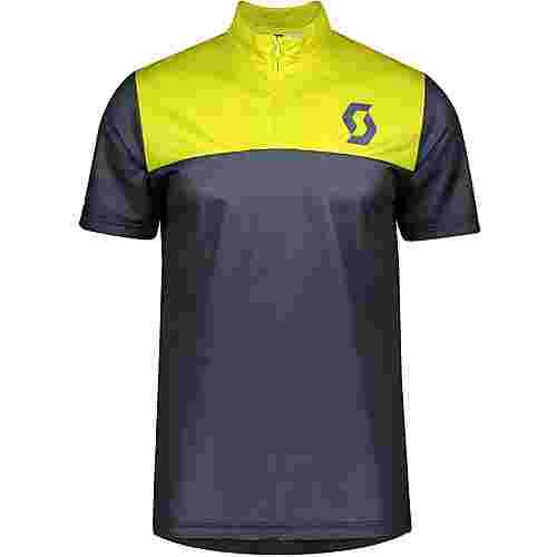 SCOTT Trail Flow Zip s/sl Fahrradtrikot Herren nightfall blue/lemongrass yellow