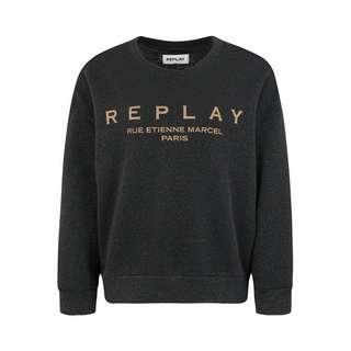 REPLAY mit Glitzereffekt Sweatshirt Damen schwarz