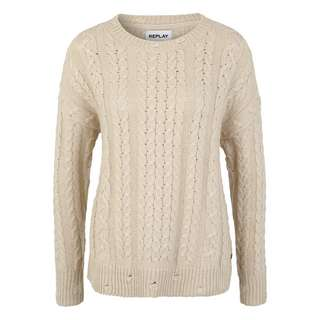 REPLAY mit Rundhals Strickpullover Damen beige