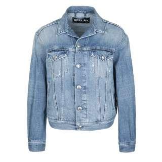 REPLAY mit Glitzer-Logo Jeansjacke Damen blau