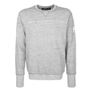 REPLAY mit melierter Optik Sweatshirt Herren grey melange