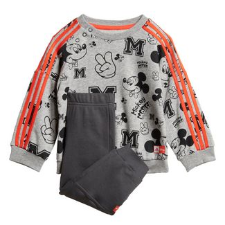 adidas Disney Mickey Maus Jogginganzug Trainingsanzug Kinder Medium Grey Heather / Semi Solar Red / White