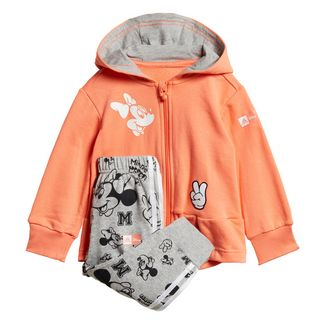 adidas Disney Minnie Maus Jogginganzug Trainingsanzug Kinder Semi Coral / Medium Grey Heather / White