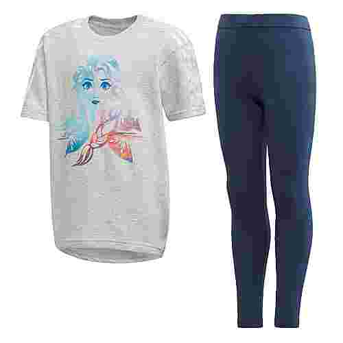 adidas Frozen Sommer-Set Trainingsanzug Kinder Light Grey Heather / White
