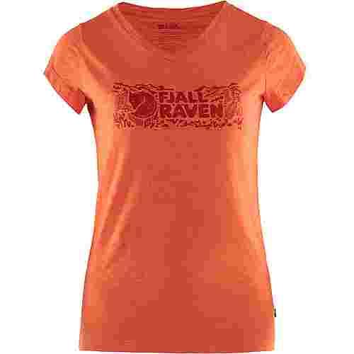 FJÄLLRÄVEN Logo Stamp T-Shirt Damen rowan red