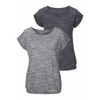 BEACH TIME Shirt Doppelpack Damen schwarz-meliert+grau-meliert