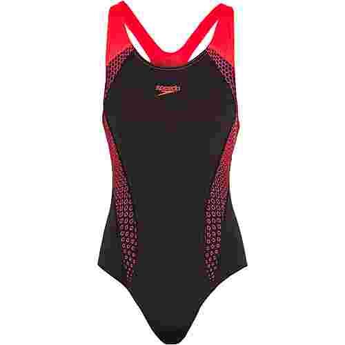 SPEEDO Schwimmanzug Damen hex black-psycho red