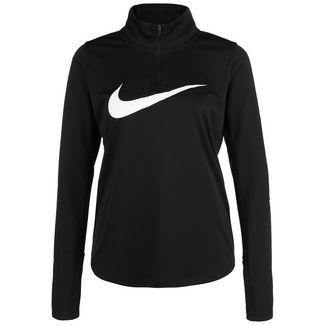 Nike Swoosh Essential 1/4 Zip Funktionssweatshirt Damen schwarz / weiß
