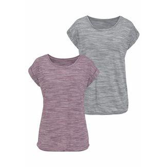 BEACH TIME Shirt Doppelpack Damen beere-meliert+grau-meliert