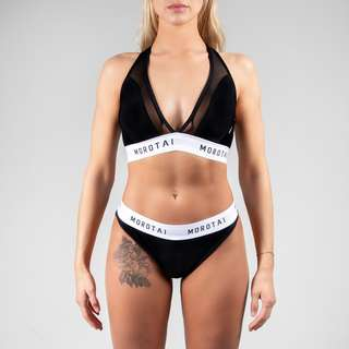 MOROTAI Mesh Bikini Bikini Set Damen Schwarz