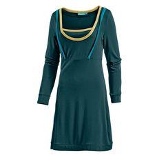 Vacuum Jerseykleid Damen dunkelgrün