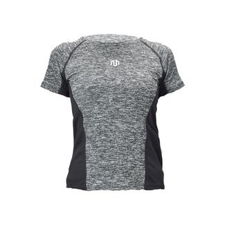 MOROTAI Performance Framed Mesh Shirt Funktionsshirt Damen Grau Melange / Schwarz