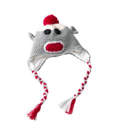 CHAOS Monkey C Bommelmütze Kinder grau/rot