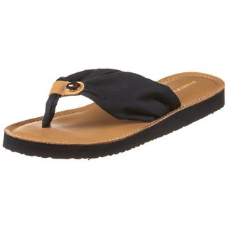Tommy Hilfiger LEATHER FOOTBED BEACH SANDAL Zehentrenner Damen desert sky