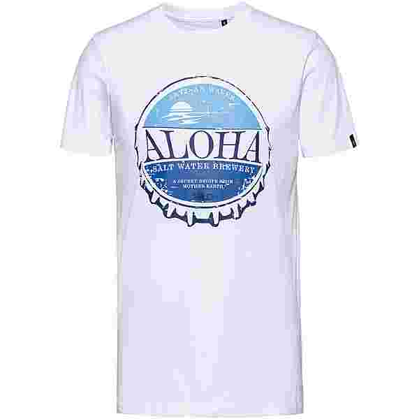 WLD ALOHA BREWERY Printshirt Herren white