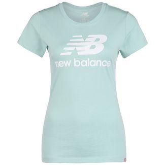 NEW BALANCE Essentials Stacked Logo T-Shirt Damen hellblau / weiß