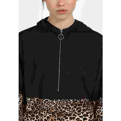 MYMO Kurzjacke Damen schwarz beige leo