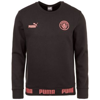 PUMA Manchester City FtblCulture Funktionssweatshirt Herren schwarz / rosa