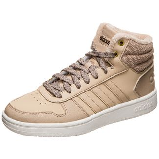adidas Hoops 2.0 Mid Sneaker Damen hellbraun / weiß