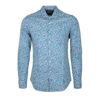 REPLAY Blumen Print Langarmhemd Herren light blue