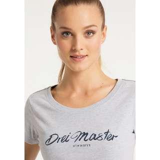 DreiMaster Printshirt Damen Hellgrau Melange