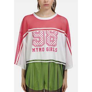 MYMO Langarmshirt Damen neon pink weiss schw