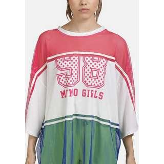 MYMO Langarmshirt Damen neon pink weiss blau