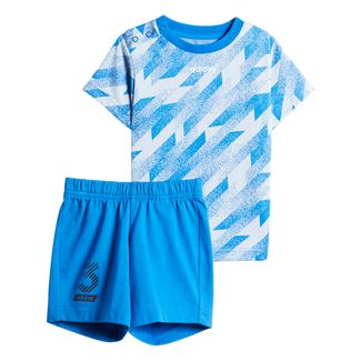 adidas Short Sleeve Set Trainingsanzug Kinder Glory Blue / White / Black