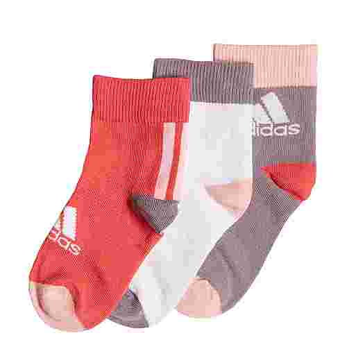 adidas Ankle Socken, 3 Paar Sportsocken Kinder Core Pink / White / Legacy Purple