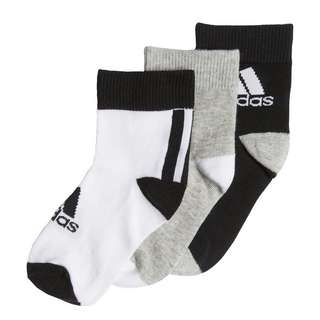 adidas Ankle Socken, 3 Paar Sportsocken Kinder Black / Medium Grey Heather / White