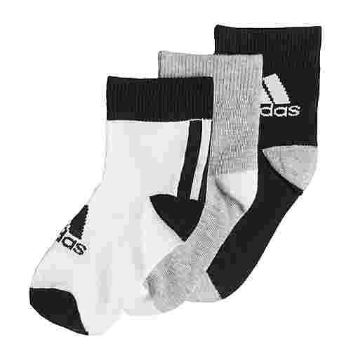 adidas Ankle Socken, 3 Paar Sportsocken Kinder Black / Medium Grey Heather / White