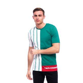 Tom Barron Gestreiftes Rundhalsshirt mit Kurzarm T-Shirt Herren grün/weiß