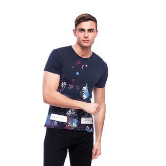 Tom Barron Bedrucktes Rundhalsshirt mit Kurzarm T-Shirt Herren dunkelblau