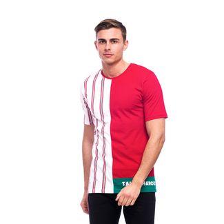Tom Barron Gestreiftes Rundhalsshirt mit Kurzarm T-Shirt Herren rot/weiß