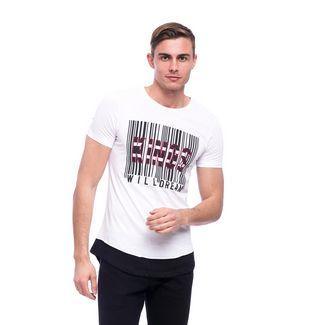 Tom Barron Bedrucktes Rundhalsshirt mit Kurzarm T-Shirt Herren weiß