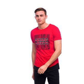 Tom Barron Bedrucktes Rundhalsshirt mit Kurzarm T-Shirt Herren rot/schwarz
