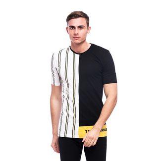 Tom Barron Gestreiftes Rundhalsshirt mit Kurzarm T-Shirt Herren schwarz/weiß