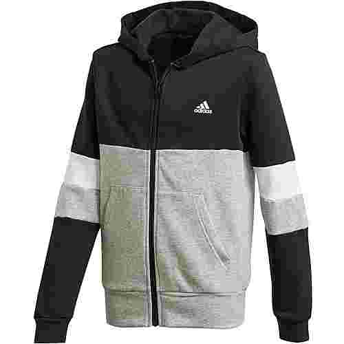 adidas Kapuzenjacke Kinder black-medium grey heather-white