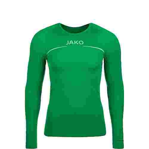 JAKO Comfort Langarmshirt Kinder grün / weiß