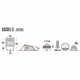 High Peak Ascoli 3 Familienzelt Dunkelgrau-rot
