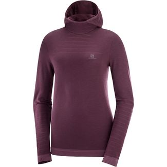 Salomon OUTSPEED Fleecehoodie Damen winetasting/heather