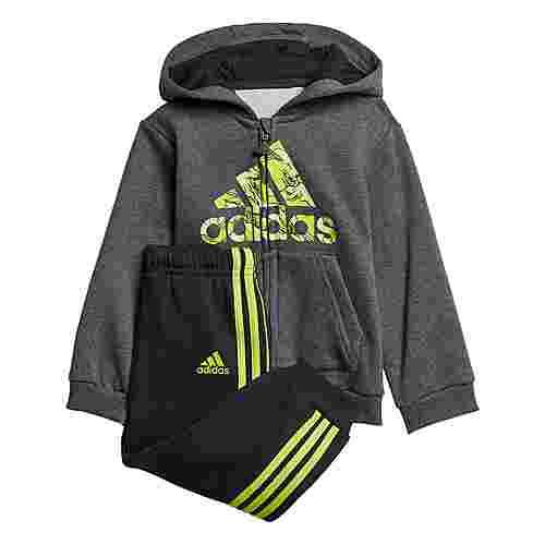 adidas Fleece Hooded Jogginganzug Trainingsanzug Kinder Dark Grey Heather / Semi Solar Slime