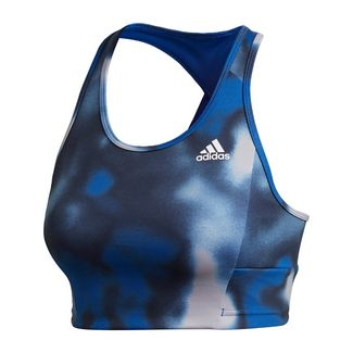 adidas Designed to Move Allover Print Bustier Sport-BH Damen Royal Blue / White